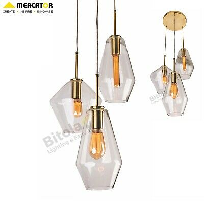 New Mercator Melba 3 Light Ceiling Pendant Brushed Brass With Clear Glass Shades
