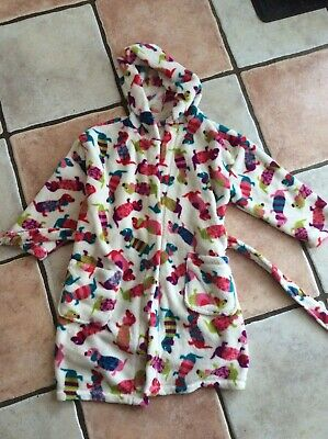 NEXT Girls SAUSAGE dog print hooded dressing gown bath robe aged 5-6 years