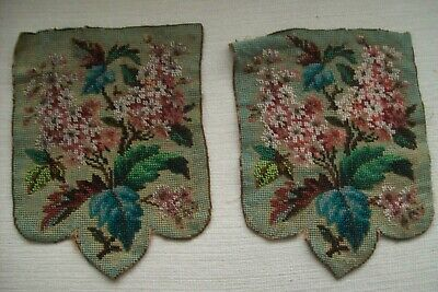 Antique  Beadwork Glass Beaded Bag Panels 6x8 inches for repair