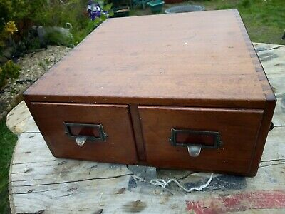 Vintage Shannon Wooden 2 Drawer Filing index draws cabinet dovetail joints