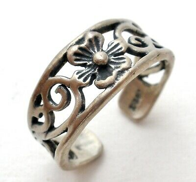Sterling Silver Wide Flower Toe Ring Midi Ring 925 Adjustable Boho Jewelry Rings