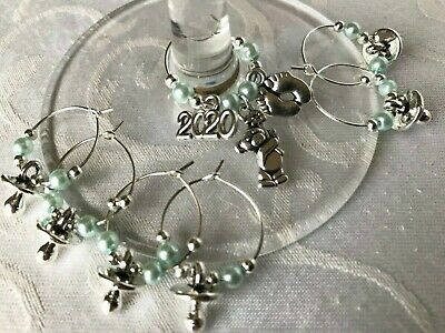 Baby Shower Wine Glass Charms x 10
