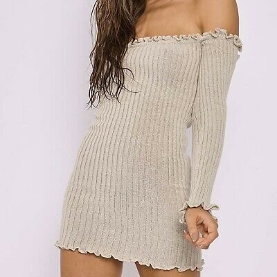 b498b8a977a9 In the Style Ribbed Ruffle Long Sleeve Bardot Dress Off the Shoulder Dress