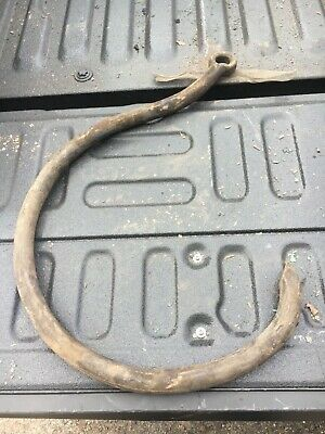 """huge vintage HEAVY metal hook possibly cast - roofing company tool 27"""" x 18"""" x 1"""