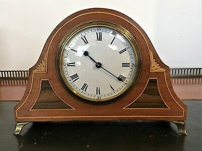 Edwardian Inlaid Mahogany Mantle Clock with French Movement