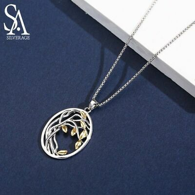 925 Sterling Silver Tree of Life Pendant Necklaces Women Gold Color Silver