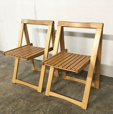 2 Mid Century Modern Vintage Wooden Folding Chairs Blonde Wood Slat Seats Pair