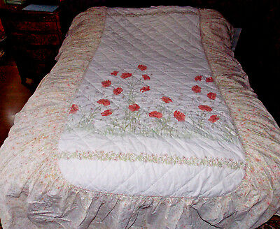 DORMA, Country Diary, Honeysuckle, cottage  floral, quilted, single bedspread.