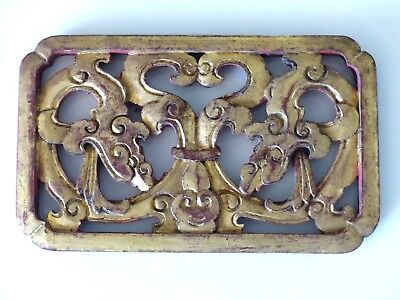 Antique Oriental / Chinese Carved Wooden Gilded / Red Panel