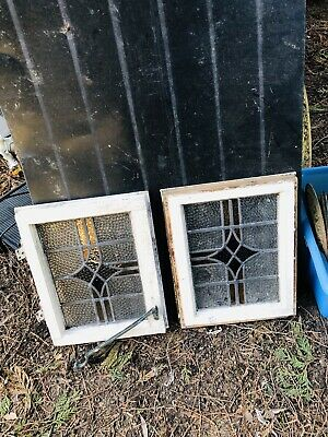 Two Stained Glass Leadlight Windows Small 14 In Wide X171/2 Tall