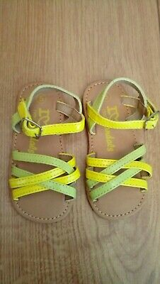 New NEXT Baby Girl Yellow And Green Summer Sandals Size 5 Infant