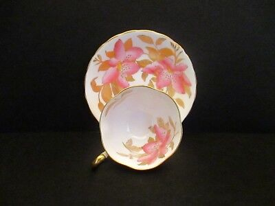 Royal Chelsea Cup and Saucer with Pink Flowers and Gold Leaves, England