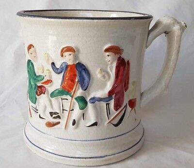 Very Large English Mug / Tankard With Quirky Frog To Well, Early-Mid 19Th C