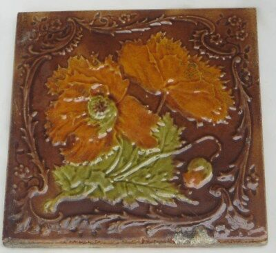 Majolica English Period Tile Colourful Flowers