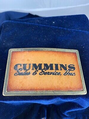 Vintage Pre-owned Cummins Sales & Service Belt Buckle with Leather Insert