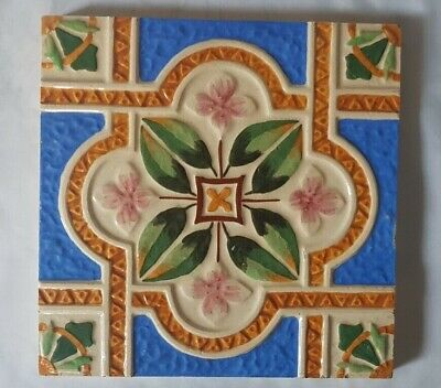 Symmetrical Majolica English 6 Inch Tile 19Th Century Colourful