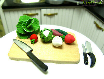 11pc Dollhouse Miniature Chopping Board Knife Vegetables Kitchen Food Cook 1:12
