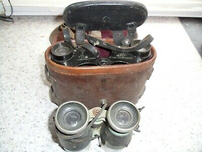 Pair of Vintage field glasses one with Case Dorset Regiment (WW1 Ross London)