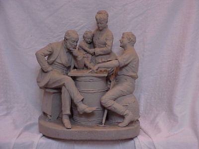 John Rogers Group of Statuary 'CHECKERS UP AT THE FARM' family good times