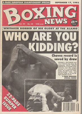 Vintage Boxing News Sept 93, Pernell Whitaker & Julio Cesar Chavez fight to draw
