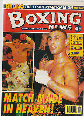 Vintage Boxing News, Nov 95, Naseem Hamed & Jose Barrera  Cover