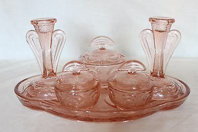Art Deco Pink Glass 6 Piece 'Rutland' Dressing Table Set by Bagley
