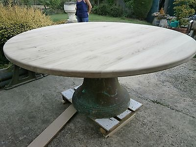 stunning oak round table top on antique bronze bell base