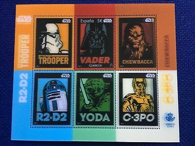 Limited Lenticular Stamp Spain 2017 Star Wars Mnh 3D Chewbacca Vader C3P0 R2D2