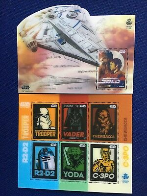 Limited Lenticular 2 Stamp Spain 2017-18 Star Wars Mnh 3D Chewbacca Vader C3P0