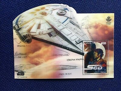 LENTICULAR STAMP SPAIN 2018 MNH STAR WARS HAN SOLO CHEWBACCA 1v M/S CINEMA FILM