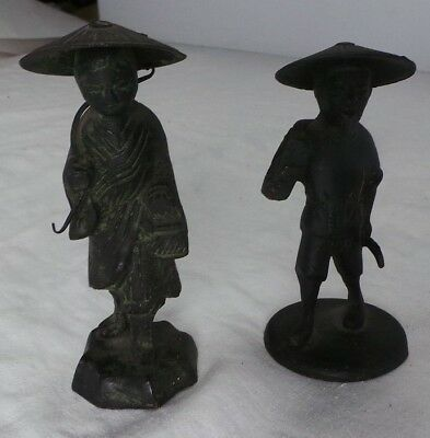 PAIR OF CHINESE MUDMEN STATUES FIGURINES from BLACK METAL VINTAGE