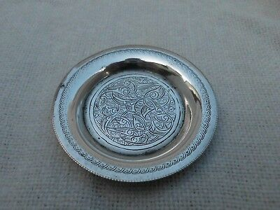 OLD EGYPTIAN HALLMARKED CHASED DESIGN SILVER PIN TRAY DISH ~ HALLMARKS 24g