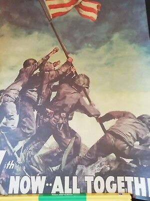 Raising The Flag on Iwo Jima Retro Kraft Paper Poster