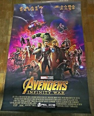 *RARE Avengers INFINITY WAR 2018 Original 27x40 Double Sided Intl Movie Poster C