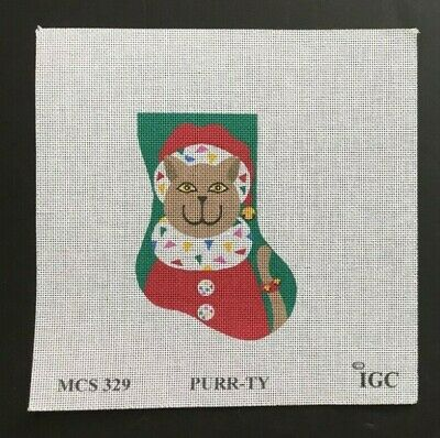 """In Good Company Giclee Needlepoint Canvas """"PURR-TY"""" Cat Mini Christmas Stocking"""