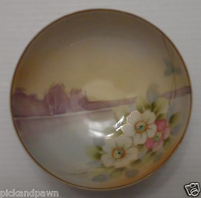 Vintage Japan Hand Painted Tri-Footed Bowl Floral Pond Gold Trim Nippon Crown?