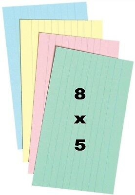 "48 Silvine Record Cards 8"" X 5"" Ruled Revision/Flash/Index cards Assorted Colour"