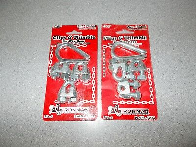 "Ironman Chain Products 54574 zinc plated 3/16"" clips & thimble wire rope 2pk new"