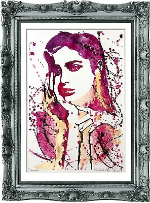 original painting modern woman gold plated 154BA watercolor peinture femme A3