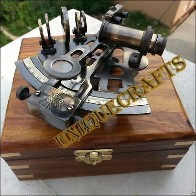 Solid Brass Nautical Sextant With Wooden Box Maritime Vintage Replica Gift