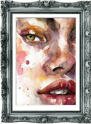 original painting art surreal fragment of female portrait watercolor 78BK art A3