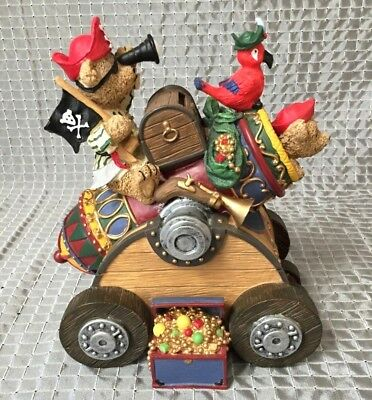 Teddy Bear Pirates in Cannon Loot Booty Chest Parrot Resin Money Piggy Bank