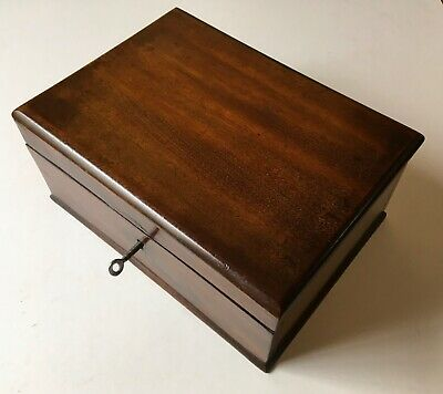 Lovely antique 19th century solid mahogany desk box with working lock and key