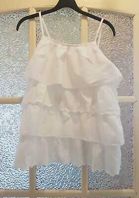 GEORGE Lovely Girls White Cotton Layered Sleeveless Top-T-Shirt-Top 12-13 Years