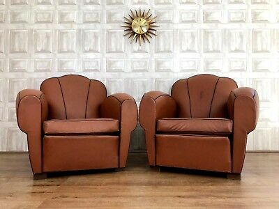 Pair Of French Vinyl Club Chairs - Cigar Art Deco Pub Moustache *£65 DELIVERY*