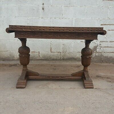 Antique Vintage Solid Oak Draw-Leaf with Grape-Carving Dining Table and 4 Chairs