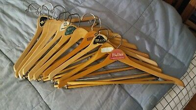 LOT OF 10 VINTAGE WOOD WOODEN COAT SUIT PANTS HANGERS w/LOCKING BAR