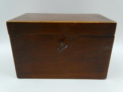 Antique Wooden Tea Caddy Lead Liner With Key