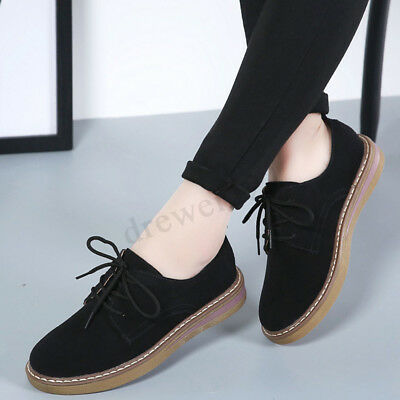 69a086a81dbb Womens Casual Oxford Lace up Brogue Round Toe Flats Suede Leather Boat Shoes