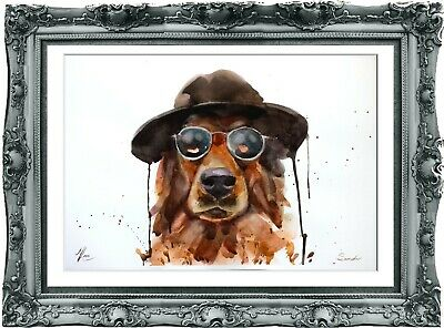 original painting dog watercolor 201LM peinture originale art A3
